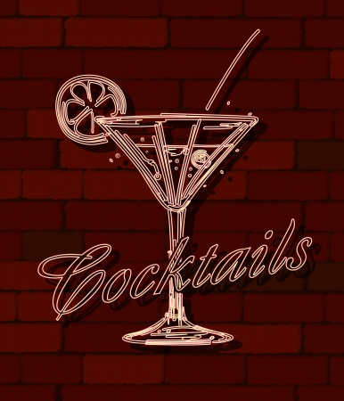 Cocktails neon sign over a brick wall Vector