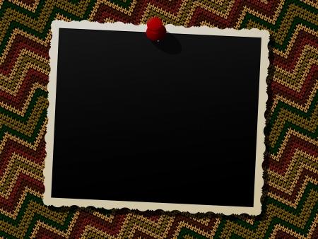 Empty photo frame over a knitted background Ilustração