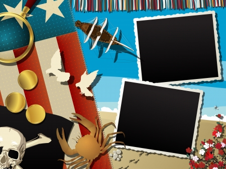 travel collage: Pirate theme abstract collage with empty photo frames Illustration