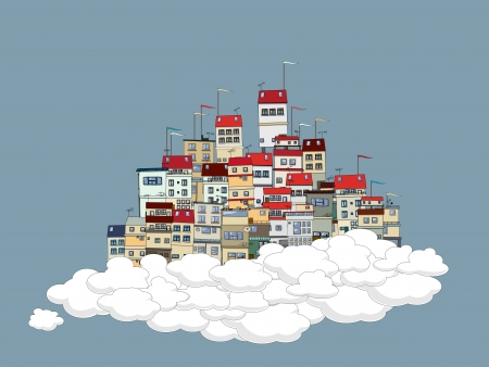 borough: Flying city in the clouds theme background