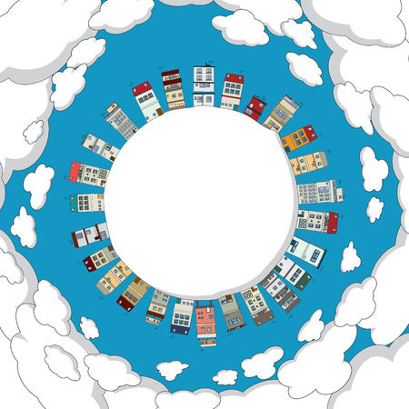 cartoon frame: Cornice rotonda citt� del fumetto con spazio per il testo o la fotografia