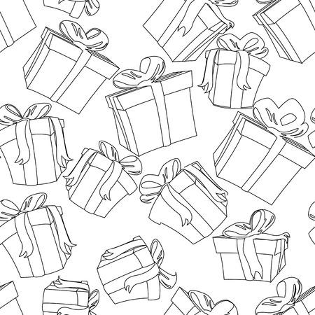 sketch pattern: Regalos patr�n de boceto sobre fondo blanco Vectores