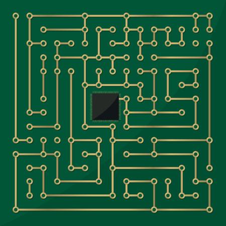 labyrinth: Computer microchip labyrinth, abstract art