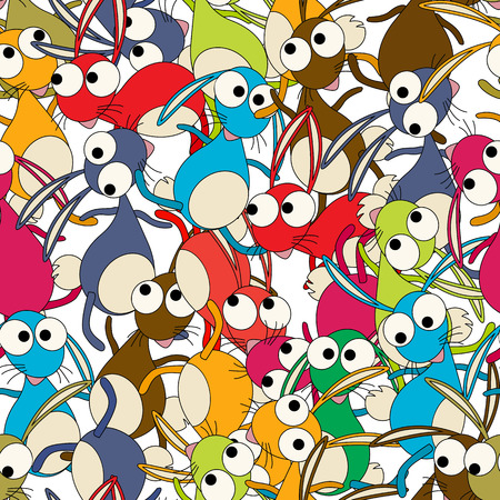 zoological: Colorful dancing rabbits background , seamless pattern
