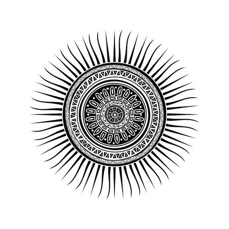 sole: Simbolo del sole Maya, disegno del tatuaggio su sfondo bianco