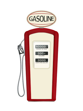Illustration of a vintage fuel pump over white background Illustration