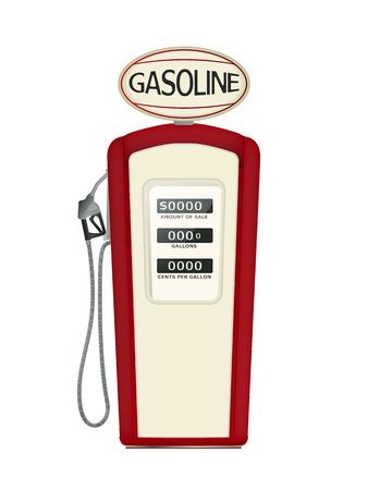 petrochemistry: Ilustraci�n de una bomba de combustible de la vendimia sobre fondo blanco