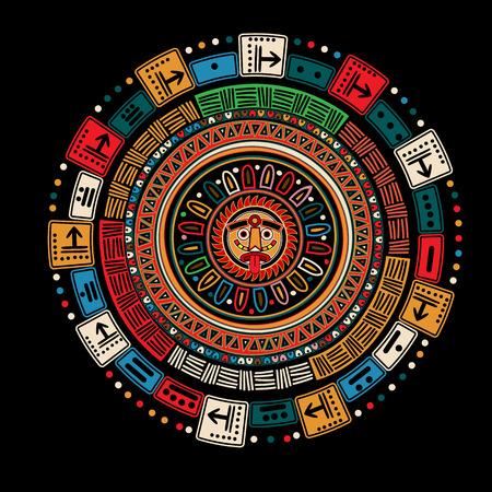 cultura maya: Calendario Maya sobre fondo negro Vectores