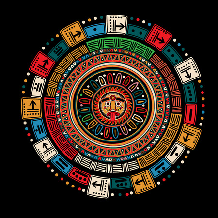 mexican ethnicity: Maya calendar over black background