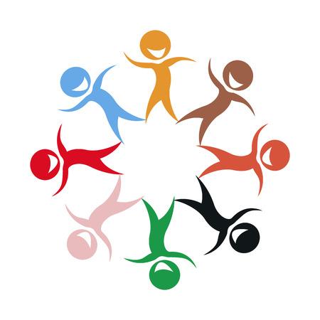 multi ethnic group: Illustration of multi ethnic group of stylized children silhouettes
