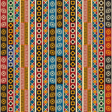 Colorful ethno seamless pattern design with graphic elements.