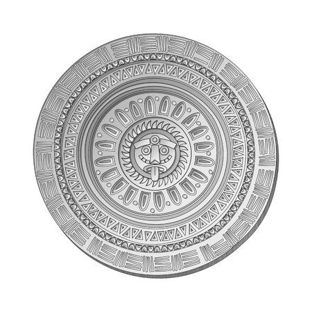 ethnology: Mayan Sun stone symbol over white background