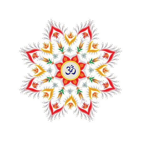 Ornamental round pattern hindu symbol om Vector
