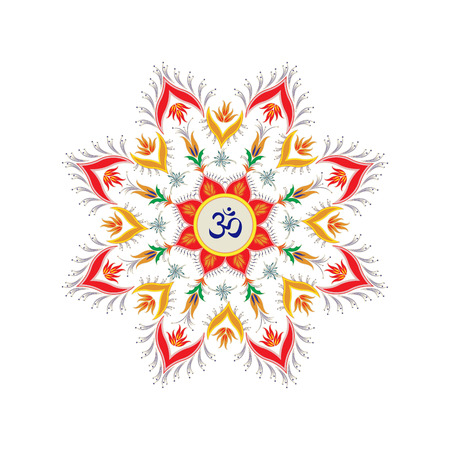 ohm: Ornamental round pattern hindu symbol om Illustration