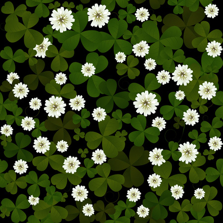 three leaf clover: Seamless clover leaves and flowers pattern on black background at Patricks Day