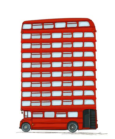 ironic: London bus, cartoon style drawing