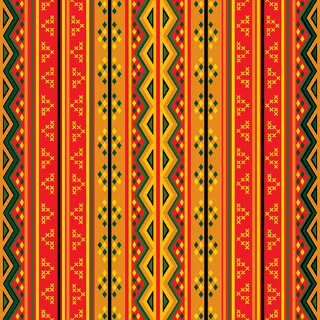 ethno: Seamless geaometric pattern in colors, tribal design Illustration