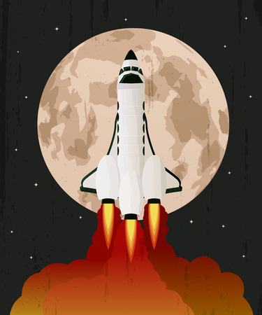 love: Space shuttle launch ove grunge moon background Illustration
