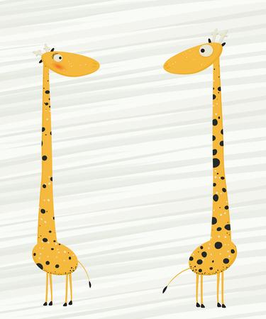 jirafa caricatura: Dos jirafas enamorarse de dibujos animados