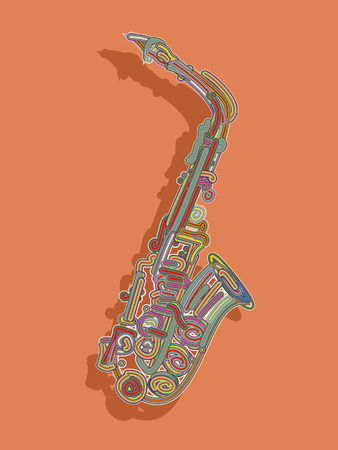 junket: Retro style saxophone card in colors Illustration