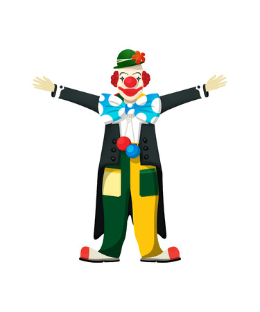 joker: Open arms clown, isolated over white