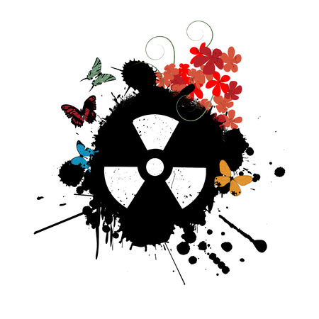 nuke: Abstract background with nuclear radiation warning sign, flowers and butterflies Illustration