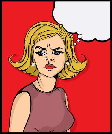 vengeful: Retro looking angry woman pop art graphic