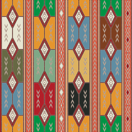 Seamless texture design with Cherokee motif and colors. Vector
