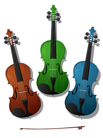 violins: Three violins in colors against white background