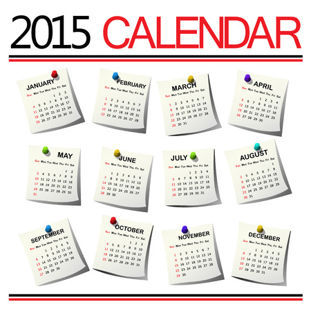 2015 Calendar against white background Vector