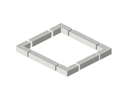 Isometric view of large stone walls and corners Vector