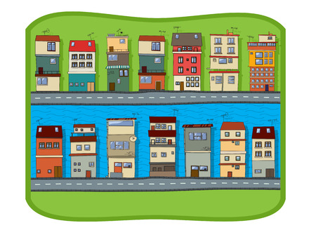 small town life: Small town on the river cartoon background