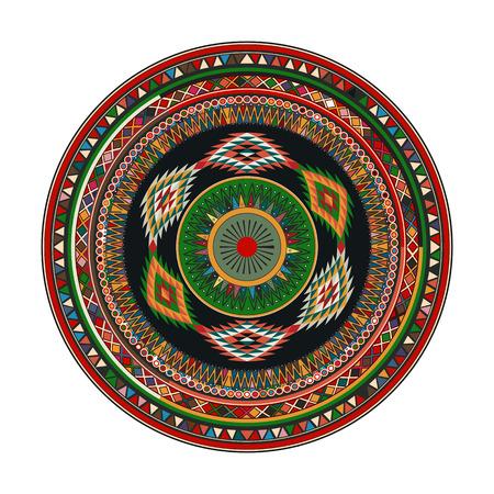 Aztec mandala, round geometric motif against white background Vector