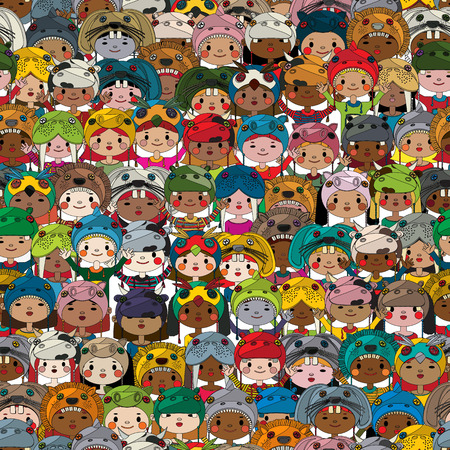 cartoon world: Seamless pattern with children wearing funny masks in colors Illustration