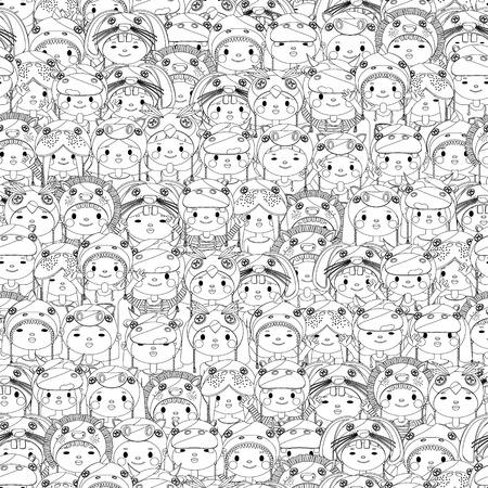 Crowd of happy children seamless pattern in black and white Vector
