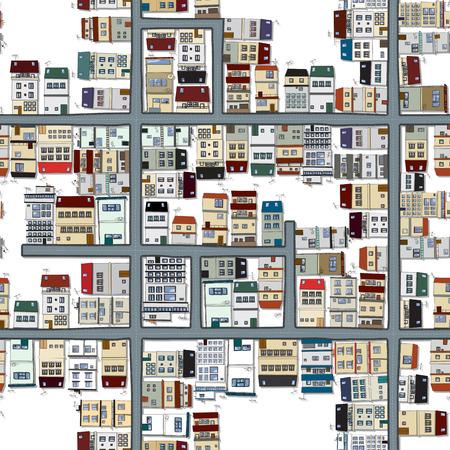 multistory: Seamless map of city, neighbourhood in cartoon style Illustration