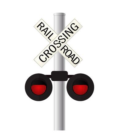 白い背景の上の鉄道横断歩道の標識