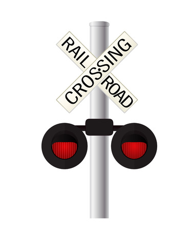 railroad crossing: Railroad crossing sign over white background