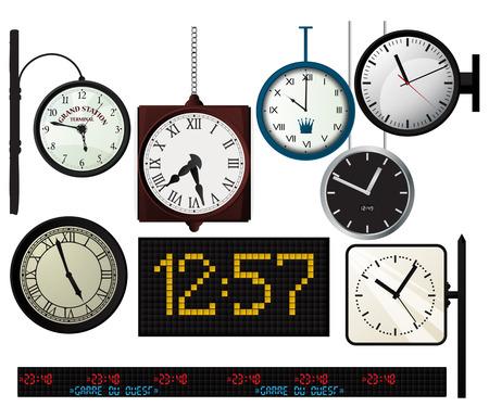 ahorcada: Tren, estación de metro, relojes colección sobre fondo blanco