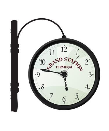 Vintage railway station clock over white background Illustration