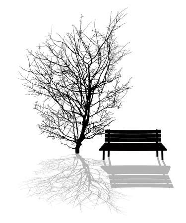 banco parque: Ilustraci�n escena del parque con el �rbol y el banco de parque siluetas