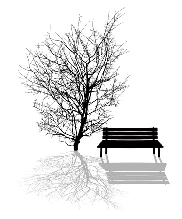 bench alone: Park scene illustration with tree and park bench silhouettes