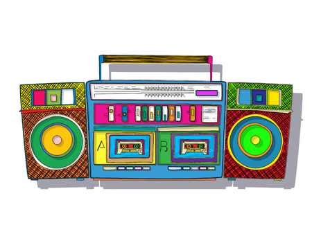 boombox: Vintage stereo double tape cassette player, pop art boombox.