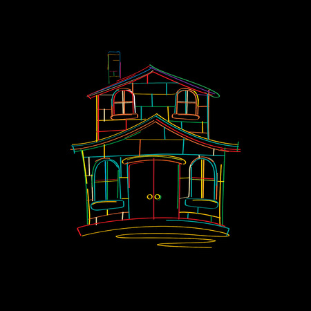 yellow roof: House sketch in colors over black background