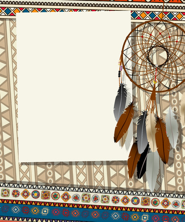 oklahoma: Text card, collage with american indian dream catcher