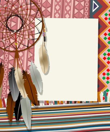 Text card, collage with american indian dream catcher Vector