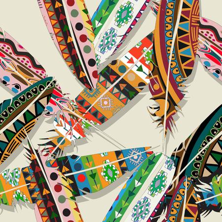 Ikat feather seamless pattern design Vetores