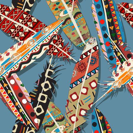 Ikat Feather Seamless Pattern Design Stock Vector   30935827