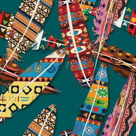 Ikat feather seamless pattern design
