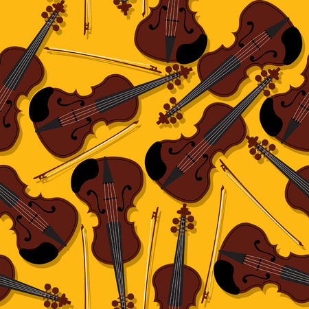 fiddle: Violins and bow seamless pattern for your design Illustration